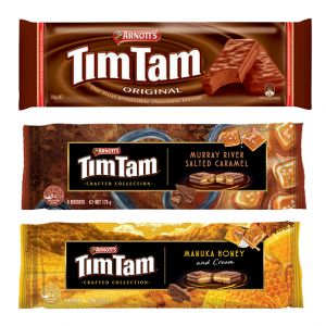 ARNOTT'S TIM TAM ORIGINAL 200G/ MANUKA HONEY 160G OU MURRAY RIVER SALTED CARAMEL 175G NEW