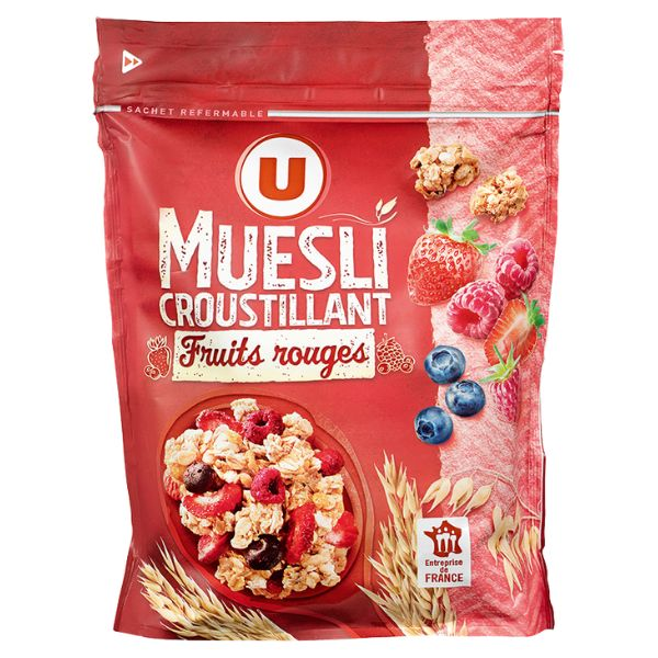 MUESLI CROUSTILLANT AUX FRUITS ROUGES OU 4 NOIX U